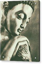 Buddha Close Sepia Acrylic Print