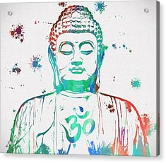 Buddha Color Paint Splatter Acrylic Print by Dan Sproul