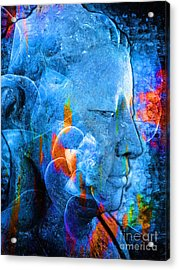 Buddha Coral Acrylic Print by Khalil Houri