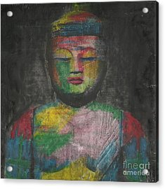 Buddha Encaustic Painting Acrylic Print by Edward Fielding