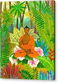 Buddha In The Jungle Acrylic Print by Jennifer Baird