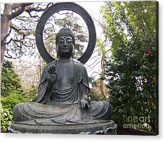 Buddha In The Woods Acrylic Print by Sharon Donahue