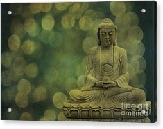 Buddha Light Gold Acrylic Print