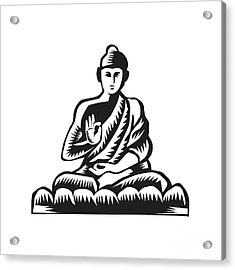 Buddha Lotus Pose Woodcut Acrylic Print