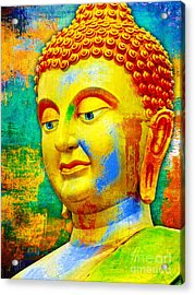 Buddha Rainbow Acrylic Print by Khalil Houri