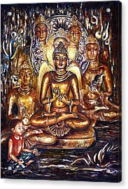 Buddha Reflections Acrylic Print by Harsh Malik