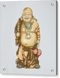 Acrylic Print featuring the mixed media Buddha by TortureLord Art