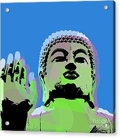Acrylic Print featuring the digital art Buddha Warhol Style by Jean luc Comperat