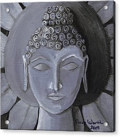 Buddha With A Stone Lotus Acrylic Print by Nicole Werth