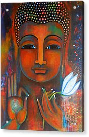 Buddha With A White Lotus In Earthy Tones Acrylic Print by Prerna Poojara