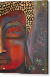 Acrylic Print featuring the painting Buddha With Floating Lotuses by Prerna Poojara