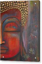 Buddha With Floating Lotuses Acrylic Print