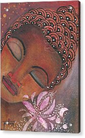 Buddha With Pink Lotus Acrylic Print