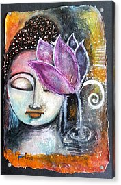 Acrylic Print featuring the mixed media Buddha With Torn Edge Paper Look by Prerna Poojara