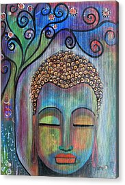 Acrylic Print featuring the painting Buddha With Tree Of Life by Prerna Poojara