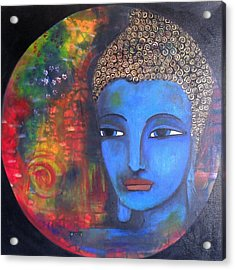 Acrylic Print featuring the painting Buddha Within A Circular Background by Prerna Poojara