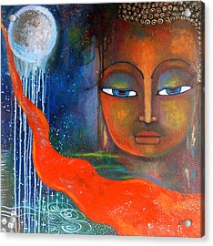 Acrylic Print featuring the painting Buddhas Robe Reaching For The Moon by Prerna Poojara