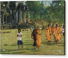 Buddhist Monks Acrylic Print by Leonor Thornton
