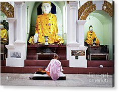 Acrylic Print featuring the photograph Buddhist Nun At Shwedagon Pagoda by Dean Harte