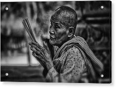 Buddhist Nun Prays Acrylic Print by David Longstreath