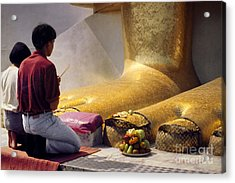 Acrylic Print featuring the photograph Buddhist Thai People Praying by Heiko Koehrer-Wagner