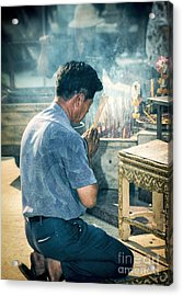Acrylic Print featuring the photograph Buddhist Way Of Praying by Heiko Koehrer-Wagner