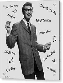 Buddy Holly And Songs Acrylic Print by Garland Johnson