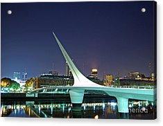 Buenos Aires - Argentina - Puente De La Mujer At Night Acrylic Print