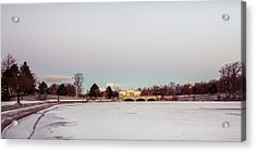 Acrylic Print featuring the photograph Buffalo History Museum Across Hoyt Lake by Chris Bordeleau