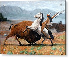Acrylic Print featuring the painting Buffalo Hunt by Tom Roderick