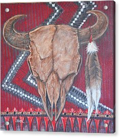 Buffalo Skull On Red Blanket Acrylic Print