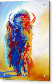 Acrylic Print featuring the pastel Buffalo Two by Pat Crowther