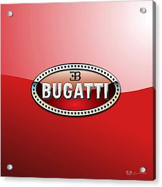 Bugatti - 3 D Badge On Red Acrylic Print by Serge Averbukh