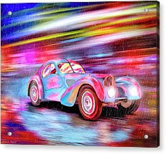 Acrylic Print featuring the mixed media Bugatti In The Rain - Vintage Dreams by Mark Tisdale