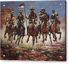 Acrylic Print featuring the painting Bugler And The Guidon by Harvie Brown