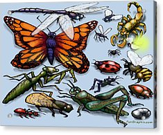 Acrylic Print featuring the painting Bugs by Kevin Middleton