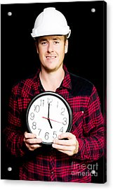 Builder With Clock Showing Home Time Acrylic Print by Jorgo Photography - Wall Art Gallery