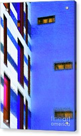 Acrylic Print featuring the digital art Building Block - Blue by Wendy Wilton