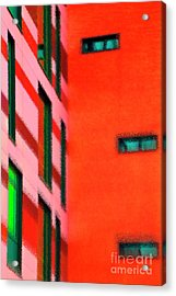 Acrylic Print featuring the digital art Building Block - Red by Wendy Wilton