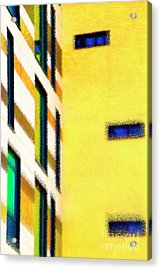 Acrylic Print featuring the digital art Building Block - Yellow by Wendy Wilton