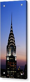 Building Lit Up At Twilight, Chrysler Acrylic Print by Panoramic Images