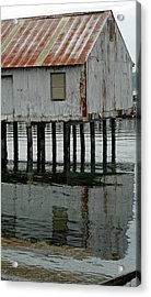 Building Over Water Acrylic Print by Matthew Adair