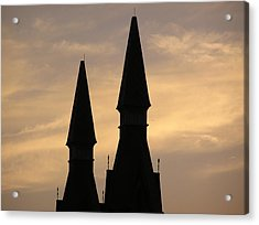 Building Peaks And Sky Acrylic Print by Richard Mitchell