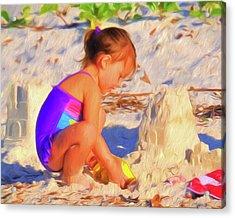 Building Sand Castles Acrylic Print