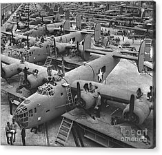 Building The B24 Fleet 1943 Bw Acrylic Print by Padre Art