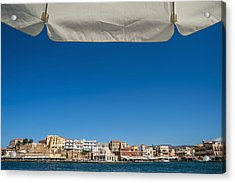 Buildings Along The Harbour  Chania Acrylic Print by Dosfotos