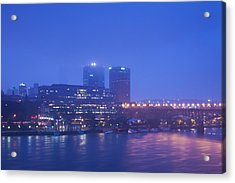 Buildings At The Riverside Lit Acrylic Print