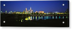 Buildings Lit Up At Dusk, Indianapolis Acrylic Print by Panoramic Images