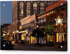 Buildings Lit Up At Dusk, Palafox Acrylic Print