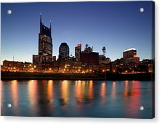 Buildings Lit Up At Dusk Acrylic Print by Panoramic Images